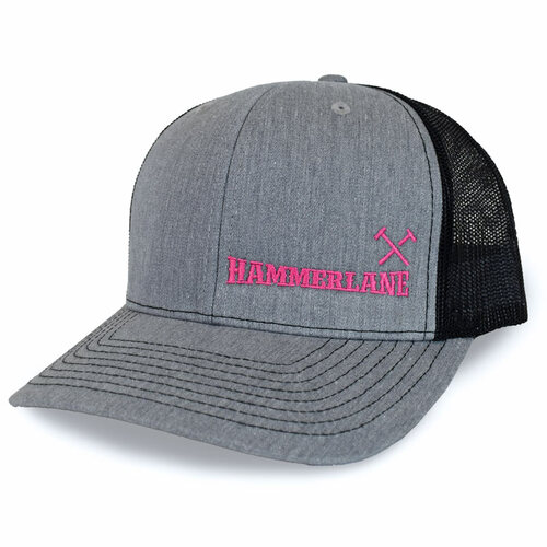 Heather Grey & Black Hammerlane Cross Hammers Snapback Hat With Pink Logo