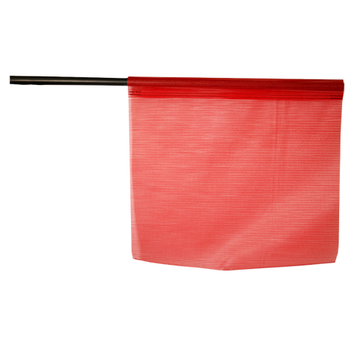 """18"""" x 18"""" Red Jersey Mesh Safety Flag on Plastic Staff"""