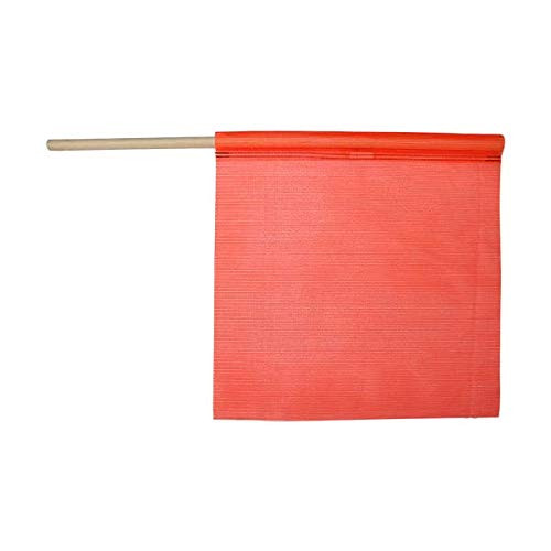 "18"" x 18"" Florescent Orange Mesh Safety Flag on Wooden Staff"