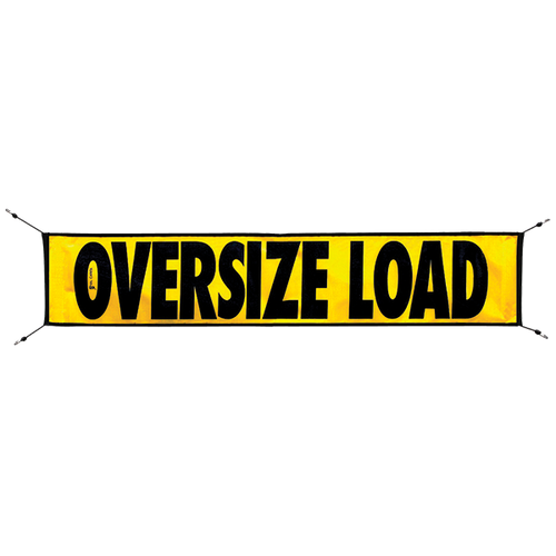 "12"" x 60"" Mesh Oversize Load Sign with Bungees"