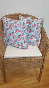 Duck egg blue and flower cushions