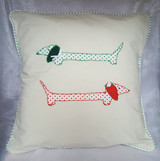 Handmade Dachshund Sausage dog appliqué cushion