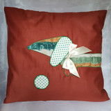 Handmade Dachshund appliqué cushion wrap around motif