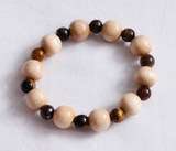 Tigers eye and wood  crystal therapy bracelet