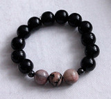 Rhodonite & wood Meditation Bracelet