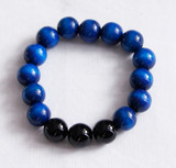 Black agate crystal and Czehoslovakian wood bead bracelet
