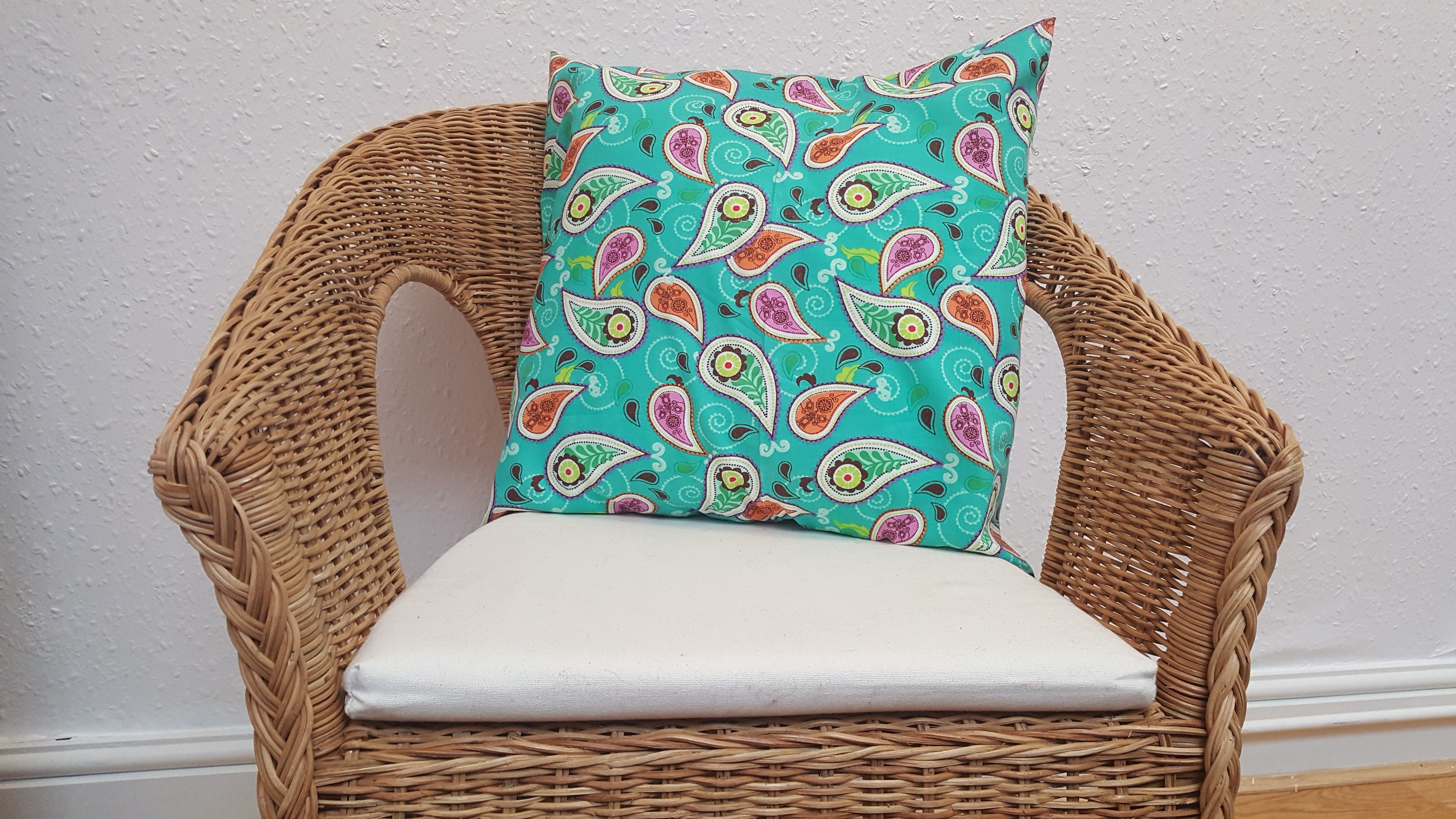 Mint and Paisley cushion cover