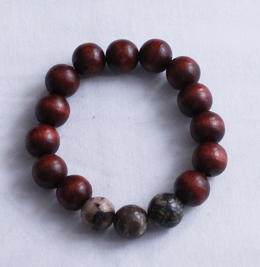 Rhodonite & wood Meditation Bracelet
