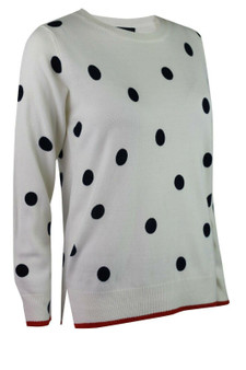 M&S Marks Spencer Collection Womens Ivory Navy Polka Dot Spot Knitted Jumper Top
