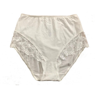 Ex M&S Brief White Lace Panel Knickers