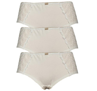 Ex M&S Collection White Embroidered Short Brief Knickers 3xPairs