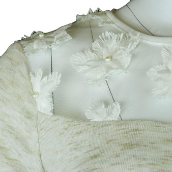 EX M&S Marks And Spencer Mesh Neck Pearl Flower 3/4 Sleeve Jumper