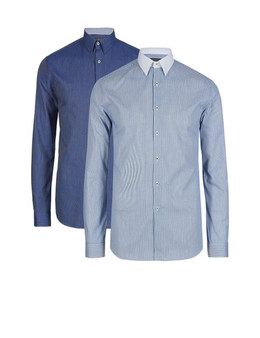 EX M&S Marks And Spencer Cotton Rich Slim Fit Blue Long Sleeve Shirt