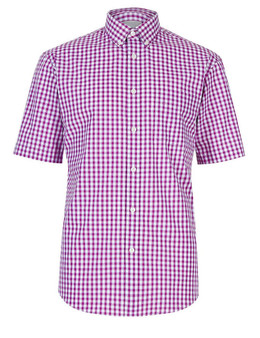 EX M&S Marks And Spencer Pure Cotton Violet Gingham Checked Shirt
