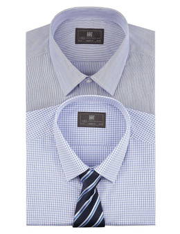EX M&S Marks And Spencer 2 Pack Easy To Iron Plain & Gingham Checked Shirts With Tie