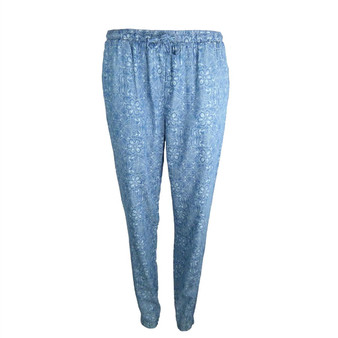 Ladies Denim Floral Print Elastic / Tie Waist Tencel Trousers