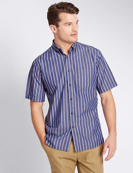 EX M&S Marks And Spencer Pure Cotton Short Sleeve Striped Shirt