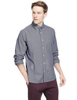 EX M&S Marks And Spencer Pure Cotton Micro Gingham Checked Shirt