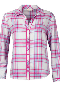 Cyberjammies Floral Fun Woven Pink Check Pyjama Top