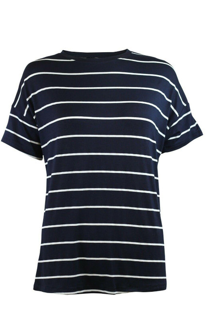 Ex M&S Navy and White Stripe T-Shirt Top