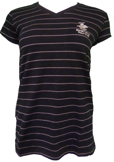 Beverly Hills Polo Club Women's Striped Athletic V-neck T-Shirt