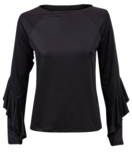 New M&S Womens Ladies Black Shimmer Long Frill Sleeves Party Evening Top 8-20