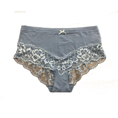 Ex M&S  Deep Brief Powder Blue Lace Knickers