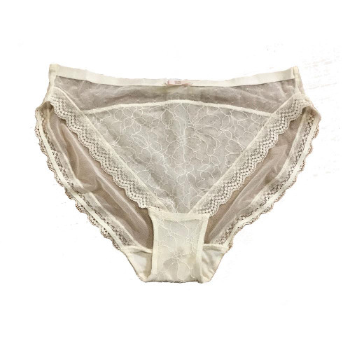 Ex M&S Brief Cream Lace Front Panel Knickers