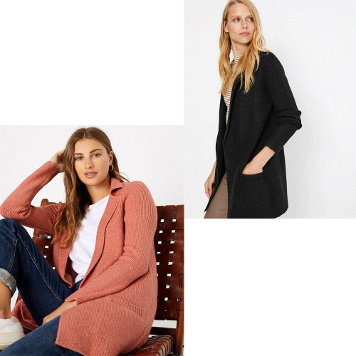 Ex M&S Collection Ribbed Knitted Cardigan Jacket