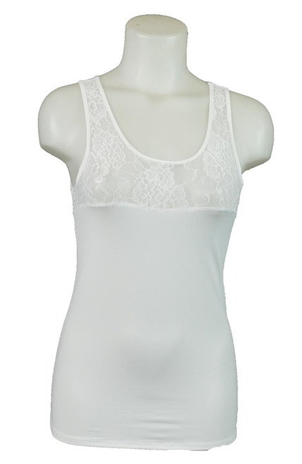 Ex M&S Collection Lace Top Skinny Vest White Soft Support Camisole
