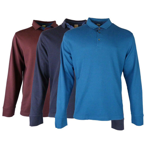 EX M&S Marks And Spencer Pure Cotton Textured Long Sleeve Polo Shirt