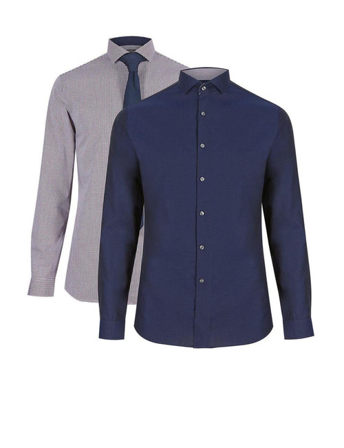 EX M&S Marks And Spencer Cotton Rich Slim Fit Long Sleeve Shirt