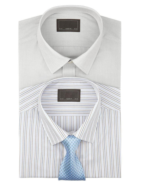 EX M&S Marks And Spencer Easy Care Long Sleeve Shirt (Stripe OR Plain)