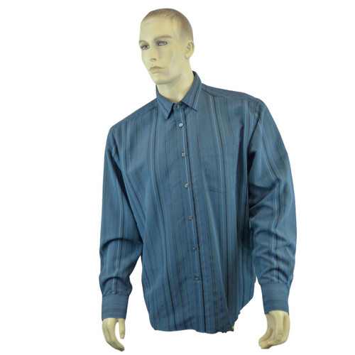 EX M&S Marks And Spencer Soft Touch Blue Striped Shirt