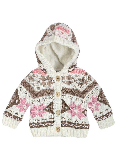 Babaluno Knitted Fully Fleece Lined Jacket with Hood, Sizes 0-3 to 9-12 Months