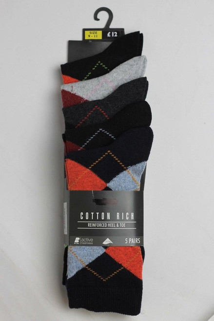 Mens Multipack of 5 Pairs Argyle Cotton Rich Active Freshness Black Mix Socks