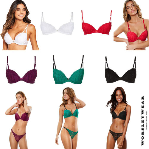 EX Ann Summers Sexy Lace 2 Plunge Push Up Padded Bra DD-H Cup RRP £20.00