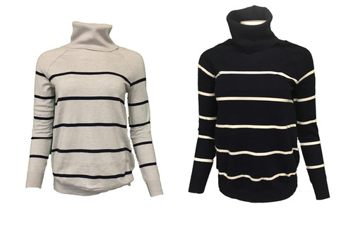 Ex Store Ladies Roll Neck Stripe Jumper  washable top long sleeve