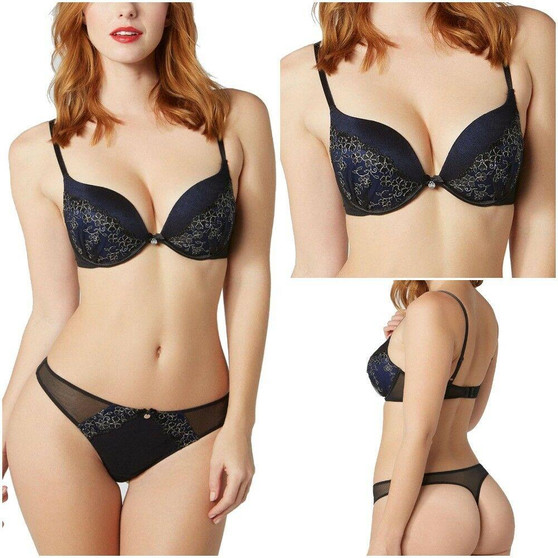 Ex Boux Avenue Keisha Ultraboost Plunge Bra Padded Wired RRP £34 / Thong RRP £14