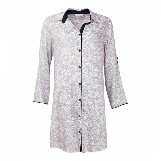 Cyberjammies Women's Peony Delight Navy Shapes woven Nightshirt