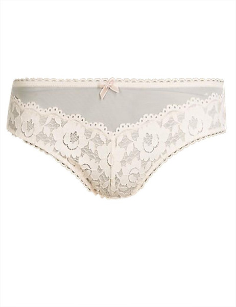Size 6 Ex M/&S White Brazilian Knickers with Lace Detail