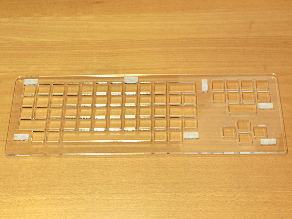 Keyguard for Dura Gadget keyboard with Dual Lock reclosable fasteners