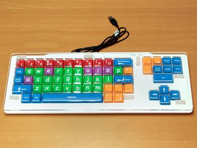 Keyguard mounted on the Dura Gadget keyboard with Dual Lock fasteners