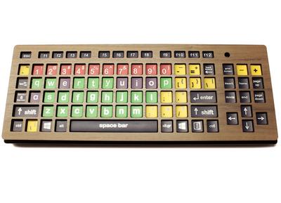 """Keyguard in 1/4"""" walnut on Monster2 keyboard."""