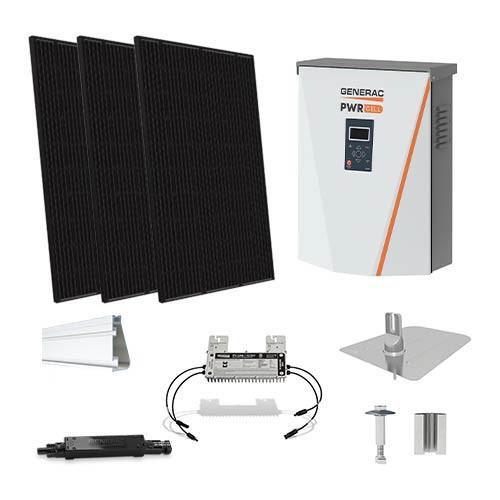Silfab SIL370 black Generac hybrid inverter Solar Kit