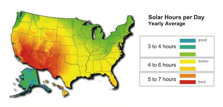 solar-radiation-map of the USA