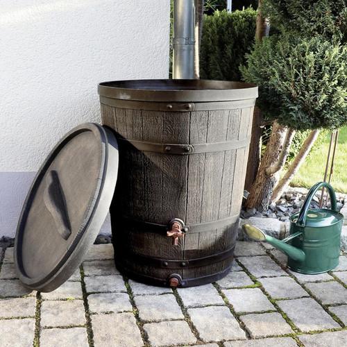 130 Litre Roto Medium Garden Water Butt in Oak Barrel Wood Effect Style