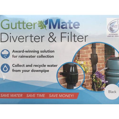 Gutter Mate Rainwater Diverter and Filter in Black, water butt diverter