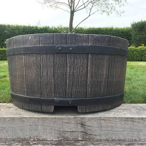 Mambo planter, garden plant pot, half barrel