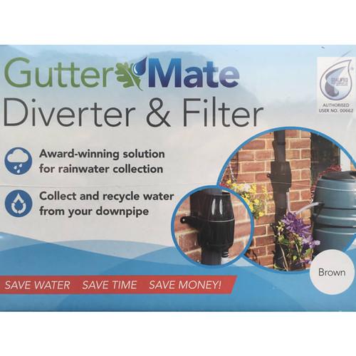 Gutter Mate Rainwater Diverter and Filter in Brown, water butt diverter